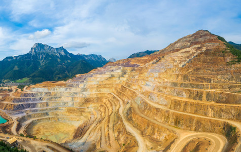 Goldmine with mountains in the background